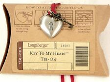 Key to My Heart Pendant or Basket Tie On Longaberger NEW FREE SHIP