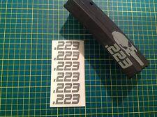 "AR 15 Magazine "".223"" Sticker 6 Pack, AR 15, AK 47, GREY, Free Shipping!"