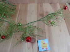 Christmas Garland 6 Feet Green Glitter Plastic Balls Berries Sparse Long Needles