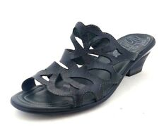 Think! Women's Black Leather Cut-out Slide Sandal Heels - Size EUR 36 / US 5-5.5