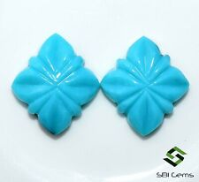 Natural Turquoise Handmade Carving Pair 15x15 mm 10.08 CTS Loose Gemstones