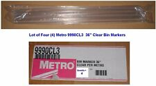 """Lot of 4 NEW Metro 2990CL3 Clear LABEL HOLDERS/BIN MARKERS for 36"""" Wire Shelves"""