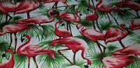 "1m 100% Cotton Fabric pink Flamingos on white   Back ground 45"""