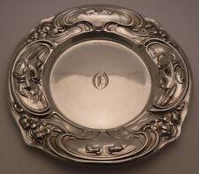 ANTIQUE WALLACE ART NOUVEAU sterling silver BREAD PLATE IRIS & VIOLET FLOWERS
