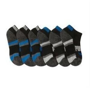 PUMA 161857 Boys' 6-Pack Black Gray Blue Stripe Details Low-Cut Socks Size 5