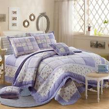 100% Cotton Coverlet / Bedspread Set Quilt Queen King Size Bed 230x250cm Purple