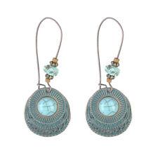 Women Vintage Round Turquoise Long Dangle Hook Eardrop Earrings Jewelry Antique