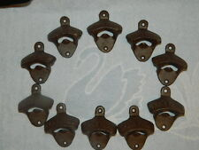 Lot of 10 Nostalgic Cast Iron Wall Mounted Open Here Bottle Openers