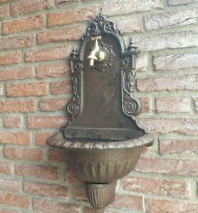 Waschbecken Wandbrunnen braun Antik 68cm Gusseisen Ausgußbecken Garten Vintage