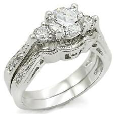 3.80 Ct Edwardian Style CZ Triple Stone Round Wedding Engagement Ring Set~Size 5