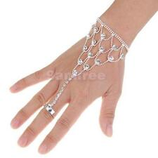 Silver clear Crystal bangle cuff Bracelet slave chain with Ring women fashion