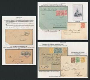 1902-1908 PARAGUAY COVERS x6 INC RARE ESTAFETA POST OFFICE BISECT & VILLA RICA