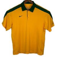 Nike DRI FI Mens Size Medium Short Sleeve Yellow Green Poly Polo Shirt