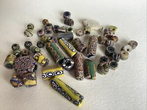 Vintage African Trade Beads Venetian Glass Millefiore Assorted Bead Lot Of 50