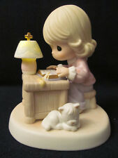 2004 Precious Moments Girl+Cat Chapel Figurine # 550021~He Is My Guiding Light