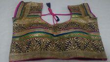 Saree Readymade Brocade Blouse Indian Stitched Choli Top Belly Dance Sari