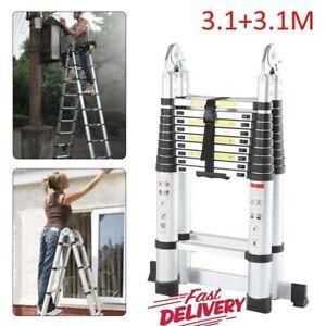 6.2m Telescopic Folding Extendable Extension Ladder Multi Purpose Steps UK STOCK