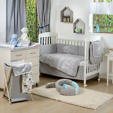 4 Piece Baby Crib Bedding Set Gray Elephant Patchwork Baby Bedding Set