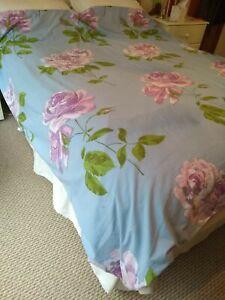 'Designer Guild' Double Duvet Cover Lovely Blue/Pink Roses Reversable100,%Cotton
