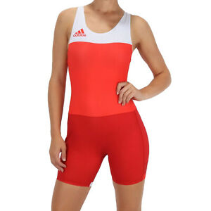 adidas Performance Womens T. Fall Wrestling Sports Wrestler Singlet Suit -Red-14