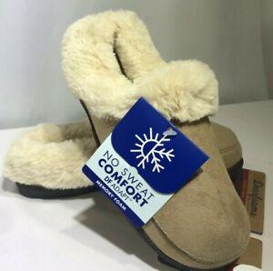 Dearfoams Women's Slippers Moccasins Tan Faux Suede M (7/8) Trimmed Faux Fur
