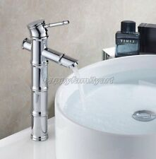 Tall Polished Chrome Bamboo Style Bathroom Basin Sink Mixer Tap Faucet ynf047