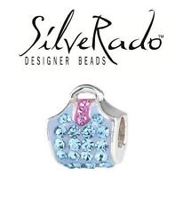 SilveRado 925 silver BLING BLUE PINK BAG crystal purse charm bead, fashion