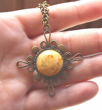 Victorian, butterscotch egg yolk amber pendant with chain, Rare amber