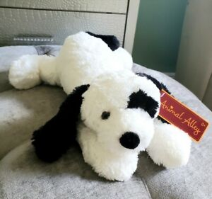 2007 Animal Alley Toys R Us Stuffed Plush Puppy Dog Black White Floppy Laying