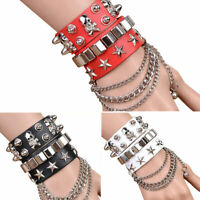 Punk Gothic Leather Spike Rivet Stud Spots Bracelet Bangle Cuff Wristband Conven
