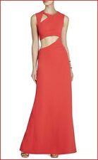 BCBG MAXAZRIA KIMORA BRIGHT POPPY CUTOUT LONG DRESS Size 12 NWT $338-RackP/17