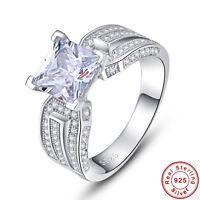 Princess Cut 3.5CT White Topaz 100% 925 Sterling Silver Ring Size L½ N½ P½ R½