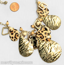 Chico's Signed Necklace Gold Tone Chain Teardrops Leopard Disks Ivory Color