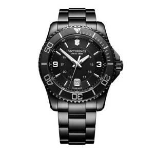 Victorinox Swiss Army Men's Watch Maverick Date Black Steel Bracelet 241798