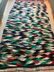 Moroccan Antique handmade Carpet Vintage Berber multicolore benouarin Rug