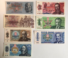More details for czechoslovakia unc banknote set 1970s 1980s p-91 to p-98