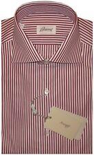 $750 NEW BRIONI SATIN WHITE & BRICK RED STRIPE DRESS SHIRT 38 15
