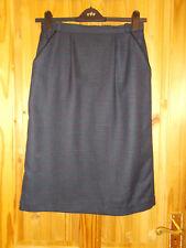 Purple black kingfisher blue-green check tartan PURE WOOL midi pencil skirt 14