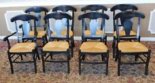 Set 8 Black Stained Rush Seated Country Dining Chairs ~ Italian Made
