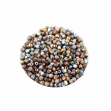 Czech Fire Polished Faceted Round Glass Beads~Etched Crystal Glittery Bronze~4mm