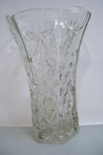 """Huge Art Decorated Clear Glass Vase 10 1/4"""" Tall 7"""" Across Top 4 1/4"""" Bottom"""