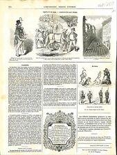 Caricature de Cham Costume Délégués Chevaux de Labour Rue de Paris  GRAVURE 1848