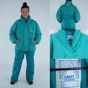 CRAFT OF SWEDEN Womens Green Ski Suit Set Salopettes Pants Jacket SIZE Medium