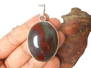 BLOODSTONE  Sterling  Silver  925  Gemstone  PENDANT -  Hallmarked