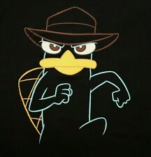 Perry The Platypus T-shirt XL Large Black Phineas and Ferb Detective Disney stor