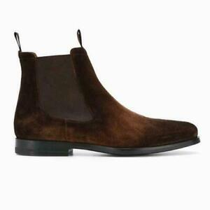 Occident Mens Real Suede Leather Chelsea Boots Shoes Pointy Toe Pull on Formal