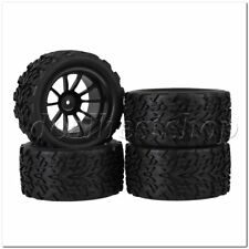 4Pieces RC1:10 Truck Rubber Arrow Type Tire & Black Plastic 10-Spoke Wheel Rim