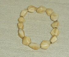 Antiqued bone faceted nugget beads stretch stretchy bracelet BRA11