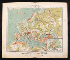 1910s Imperial Russian Antique color physical map of EUROPE
