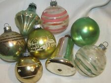 8 Vintage Christmas Ornaments Balls - Shiny Brite - Made in USA Mercury Stencil